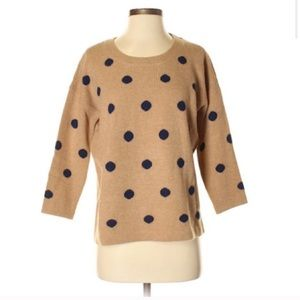 Madewell Tan & Navy Dotted Crewneck Sweater